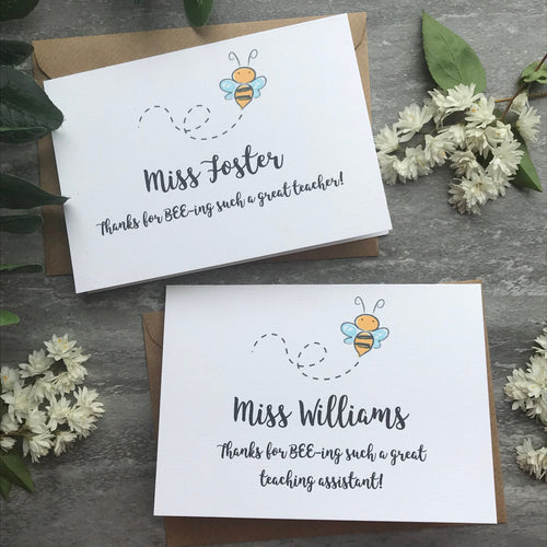 Personalised Bee Teacher Card-The Persnickety Co