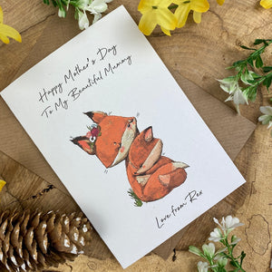Fox Mother's Day Personalised Card-2-The Persnickety Co