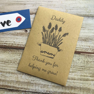 Daddy/ Grandad Thank You For Helping Me Grow! Mini Kraft Envelope with Wildflower Seeds-5-The Persnickety Co