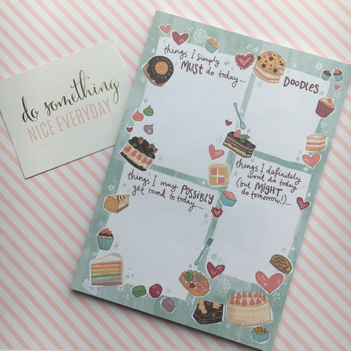 Cakes & Hearts A5 Notepad-The Persnickety Co