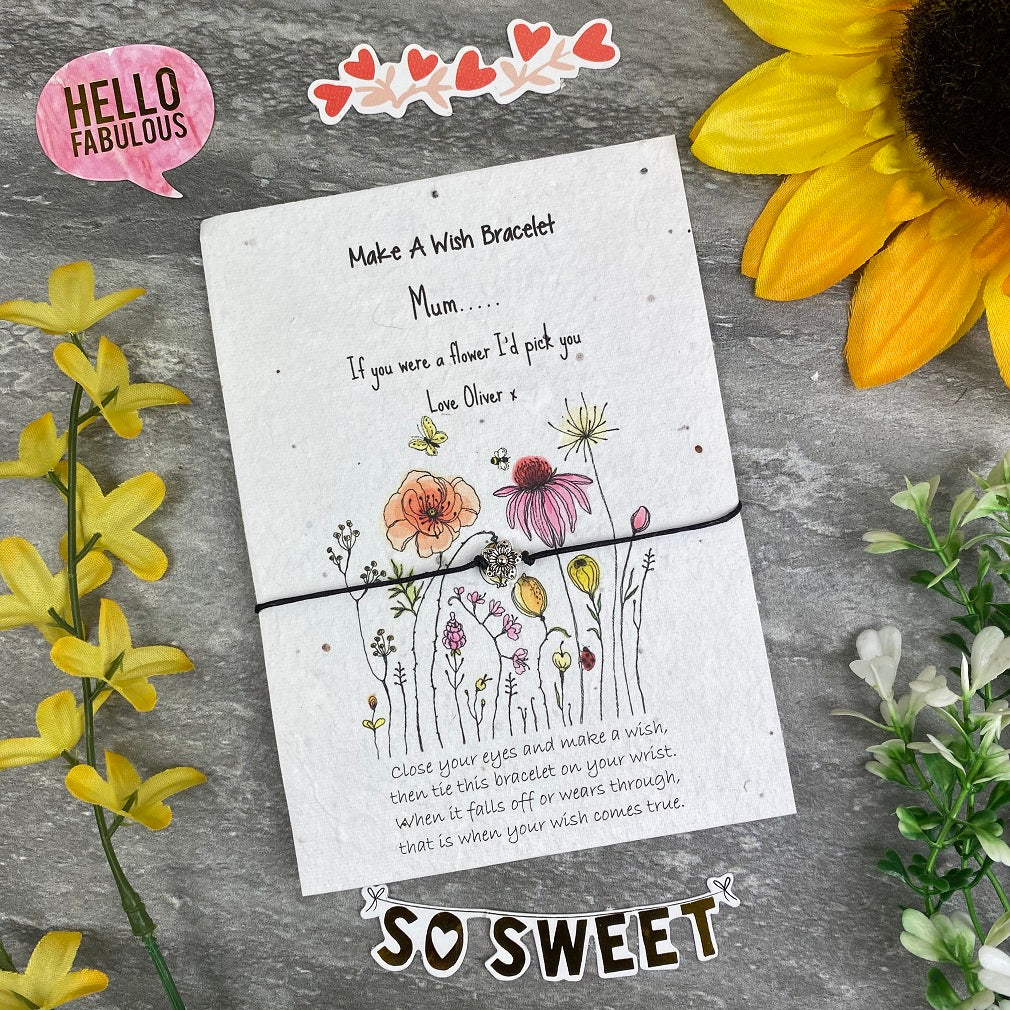 Mum If You Were A Flower Wish Bracelet On Plantable Seed Card-The Persnickety Co