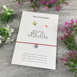 Personalised Bee My Valentine Wish Bracelet-3-The Persnickety Co