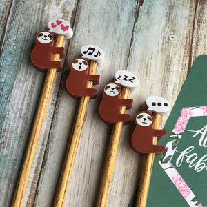 Sloth Pencil With Sloth Eraser Topper-6-The Persnickety Co