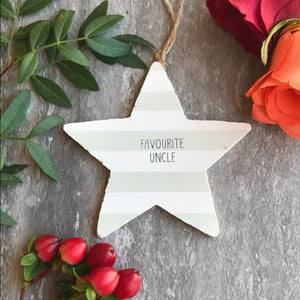Favourite Uncle Wooden Hanging Star By Gisela Graham-3-The Persnickety Co