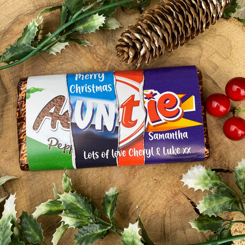 Personalised Christmas Auntie Chocolate Bar-The Persnickety Co