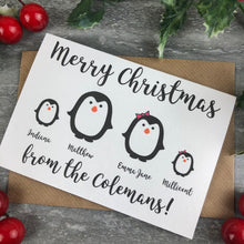 Load image into Gallery viewer, Penguin Personalised Christmas Card-The Persnickety Co