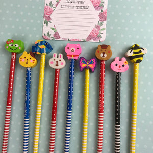 Happy Day Animal Rubber Topped Pencil-6-The Persnickety Co