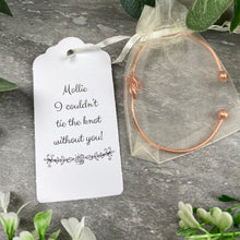 Load image into Gallery viewer, Wedding Knot Bangle With Initial Charm in Rose Gold-7-The Persnickety Co