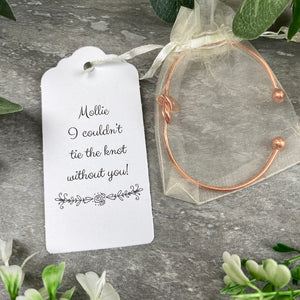 Wedding Knot Bangle With Initial Charm in Rose Gold-7-The Persnickety Co