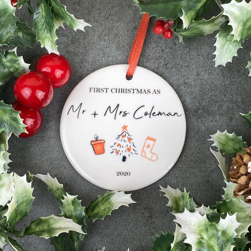 Personalised First Christmas As Mr & Mrs Hanging Decoration-The Persnickety Co