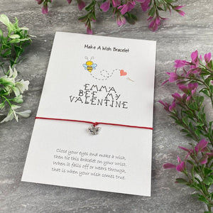 Personalised Bee My Valentine Wish Bracelet-5-The Persnickety Co