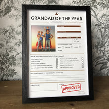 Load image into Gallery viewer, Grandad of The Year Framed Application Form-4-The Persnickety Co