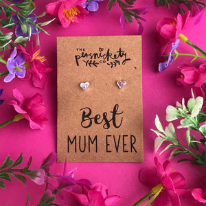 Best Mum Ever - Heart Earrings - Gold / Rose Gold / Silver-2-The Persnickety Co