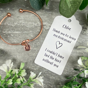 Bridesmaid Knot Bangle With Initial Charm, Rose Gold-5-The Persnickety Co