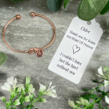 Load image into Gallery viewer, Maid Of Honour Knot Bangle With Initial Charm - Rose Gold-4-The Persnickety Co