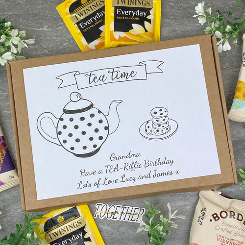 TEA-Riffic Birthday Personalised Tea and Biscuit Box-The Persnickety Co