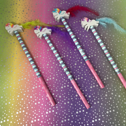 Unicorn Pencil and Eraser with Fluffy Tail-The Persnickety Co