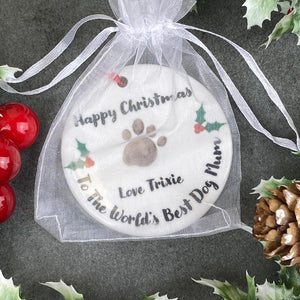 Personalised Happy Christmas World's Best Dog Mum Hanging Decoration-4-The Persnickety Co