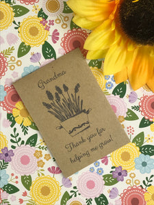 Grandma Thank You For Helping Me Grow Mini Kraft Envelope with Wildflower Seeds-The Persnickety Co