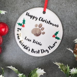 Personalised Happy Christmas World's Best Dog Mum - Hanging Decoration-8-The Persnickety Co