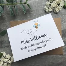 Load image into Gallery viewer, Personalised Bee Teacher Card-5-The Persnickety Co
