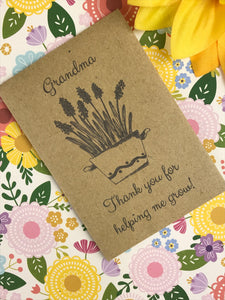 Grandma Thank You For Helping Me Grow Mini Kraft Envelope with Wildflower Seeds-5-The Persnickety Co