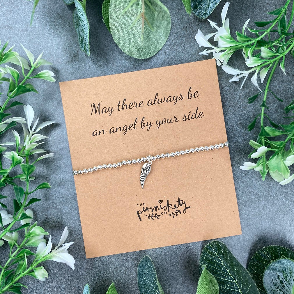 May There Always Be An Angel By Your Side Beaded Bracelet-The Persnickety Co