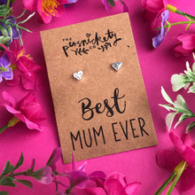 Load image into Gallery viewer, Best Mum Ever - Heart Earrings - Gold / Rose Gold / Silver-The Persnickety Co