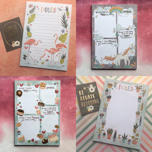 Set of 4 Cute A5 Notepads-The Persnickety Co