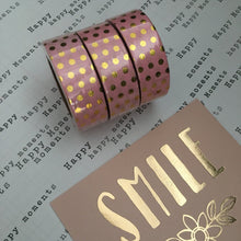 Load image into Gallery viewer, Gold Foil Polka Dot Washi Tape - Pink-2-The Persnickety Co