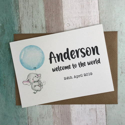 Welcome To The World Baby Boy Card - Personalised-The Persnickety Co