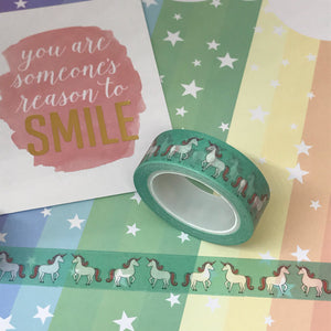 Teal Unicorn Washi Tape-2-The Persnickety Co