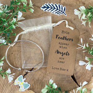 Feathers Appear When Angels Are Near Feather Bangle-4-The Persnickety Co