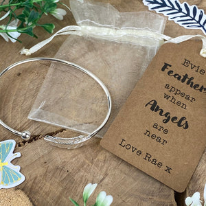 Feathers Appear When Angels Are Near Feather Bangle-7-The Persnickety Co