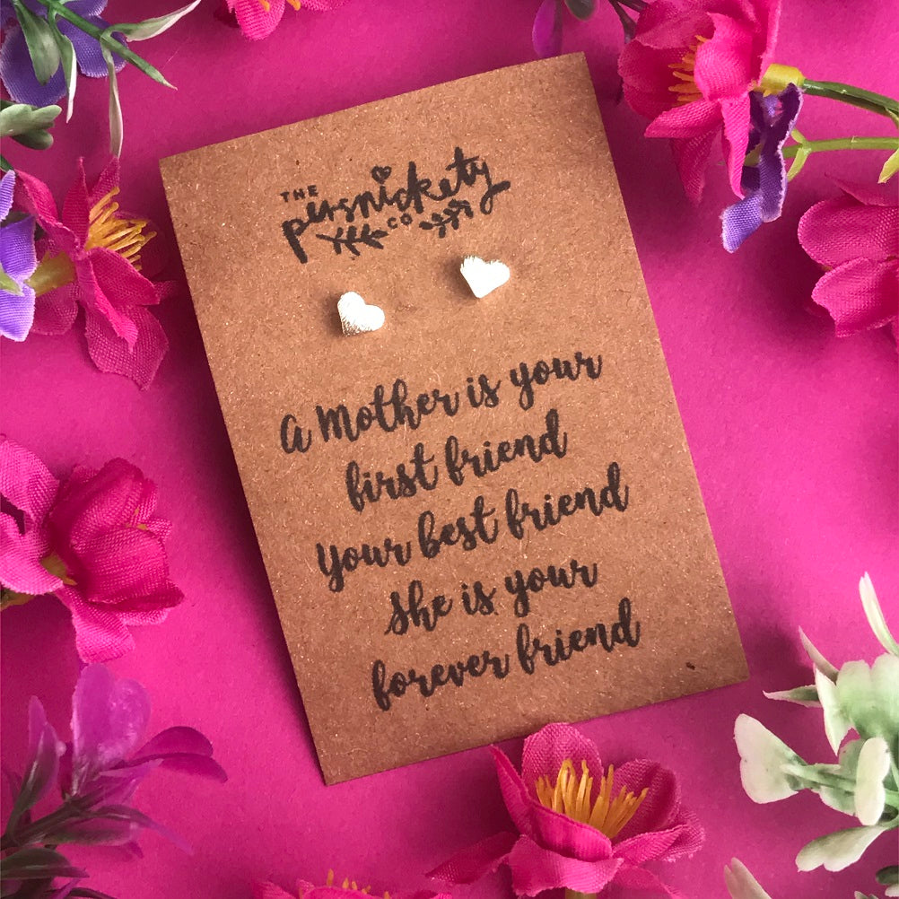 A Mother Is Your First Friend - Heart Earrings - Gold / Rose Gold / Silver-The Persnickety Co
