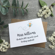 Load image into Gallery viewer, Personalised Bee Teacher Card-7-The Persnickety Co