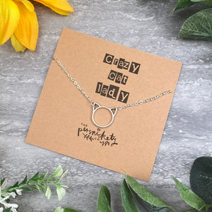 Silver Cat Necklace - Crazy Cat Lady-The Persnickety Co