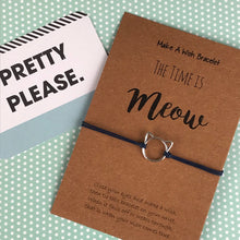 Load image into Gallery viewer, The Time is Meow Cat Wish Bracelet-The Persnickety Co