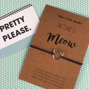 The Time is Meow Cat Wish Bracelet-The Persnickety Co