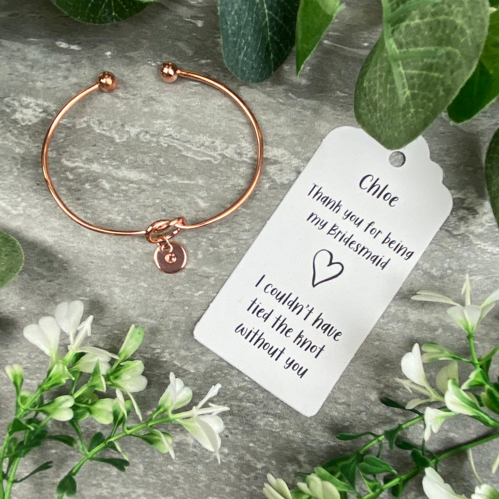 Bridesmaid Knot Bangle With Initial Charm, Rose Gold-The Persnickety Co
