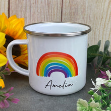 Load image into Gallery viewer, Enamel Mug - Rainbow The Greater The Storm
