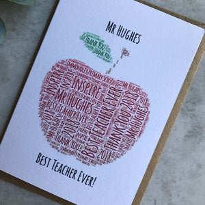 Personalised Apple Teacher Card-2-The Persnickety Co