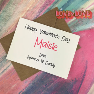 Personalised Happy Valentine's Day From Mummy And Daddy Card-The Persnickety Co