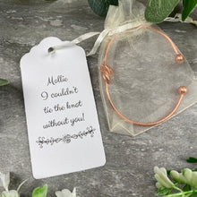 Load image into Gallery viewer, Wedding Knot Bangle With Initial Charm in Rose Gold-5-The Persnickety Co