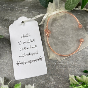 Wedding Knot Bangle With Initial Charm in Rose Gold-5-The Persnickety Co
