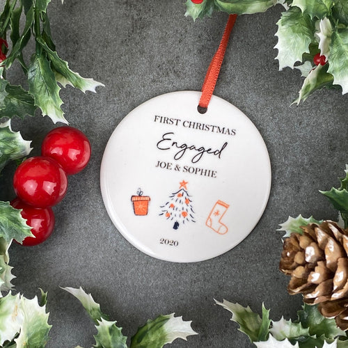 Personalised First Christmas Engaged Hanging Decoration-The Persnickety Co