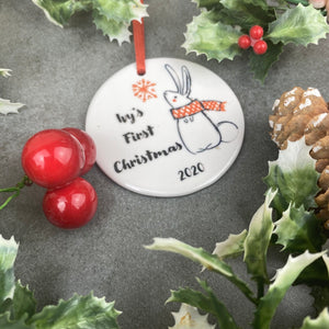Personalised First Christmas Hanging Decoration-7-The Persnickety Co