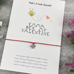 Personalised Bee My Valentine Wish Bracelet-8-The Persnickety Co