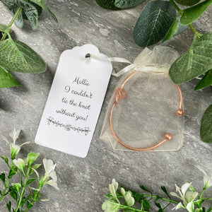 Wedding Knot Bangle With Initial Charm in Rose Gold-2-The Persnickety Co