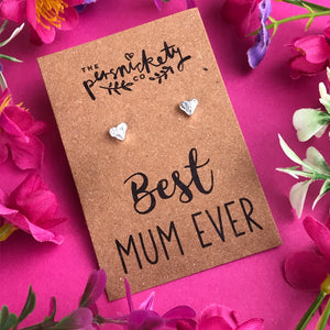 Best Mum Ever - Heart Earrings - Gold / Rose Gold / Silver-5-The Persnickety Co